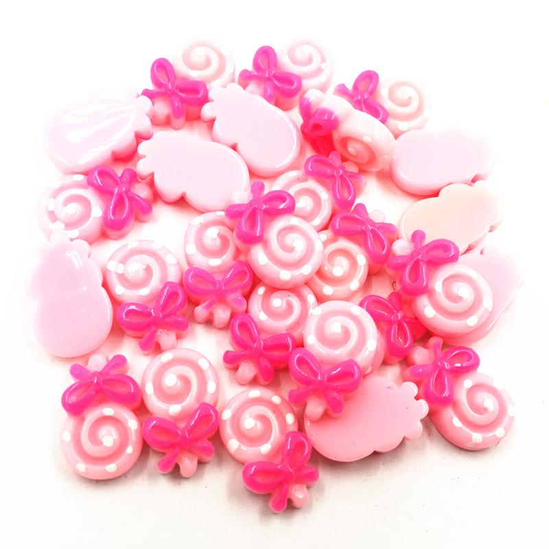 30Pcs Pink Cameo Cabochon Decoration Cute Candy Lollipop Resin Flat Back Fashion Jewelry DIY Findings 17mm