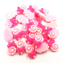 30Pcs Pink Cameo Cabochon Decoration Cute Candy Lollipop Resin Flat Back Fashion Jewelry DIY Findings 17mm new fashion 40pcs 12mm silver color flat back resin cabochons cameo g5 08