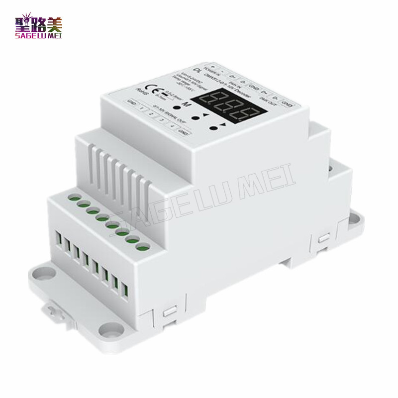 DL DMX512 to 4CH 0-10V Decoder 0-10V LED Dimmer DMX 512 Signal to 0-10V Signal RGB/RGBW controller 4 Channel Dimmer DC5V-24V r4 cc ltech dmx512 decoder rgbw controller constant current dmx signal driver wireless led dimmer