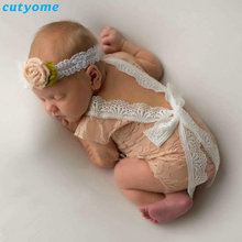 Cutyome Newborn Baby Girls Boys Photography Props Lace Romper Backless Bow Playsuits Infant Princess Jumpsuits Overalls Clothes