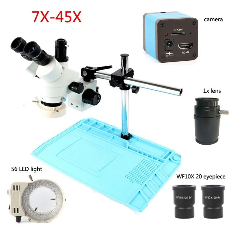 Microscope industriel stéréo trinoculaire de la caméra 720 p HDMI 1/2 microscope à zoom continu 7X-45X, soudure de réparation de PVC