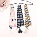 Women Winter Multifunction Small Twilly Ribbon Scarf Sheep Printed Tassel Scarves Hair Band Bags Handle Decoration Bow Tie S6