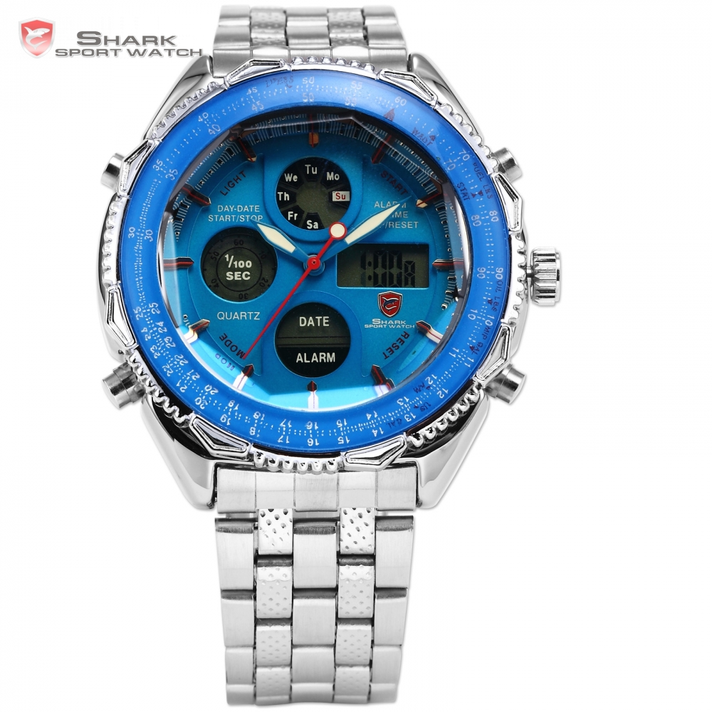 SHARK LCD Display Stainless Steel Analog Dual Time Date Alarm Stopwatch Blue Dial Male Clock Men Sports Digital Watch / SH110SHARK LCD Display Stainless Steel Analog Dual Time Date Alarm Stopwatch Blue Dial Male Clock Men Sports Digital Watch / SH110