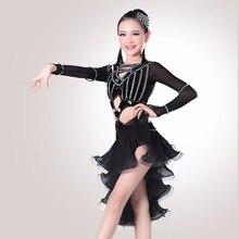 164aab1014149 Envío de la nueva chica baile latino vestido azul negro rojo buena calidad  del estudiante Chacha vestido de Ballet femenino Lati.