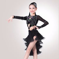 2017 New Girl Latin Dance Dress Blue Black Red Teenager Normal Quality Free Shipping Clothes Female