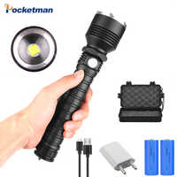 Hot Led Flashlight USB Rechargeable Flash light with usb XHP70.2 Zoomable Lantern Use 18650/26650 battery Torch Best Camping