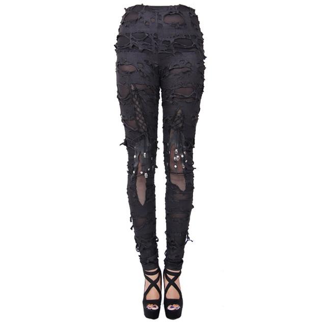 Devil Fashion Steampunk Women Black Plus Size Skeleton Leggings Goth Punk Fashion Skinny Skull Ripped Pants for Girls Ladies