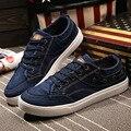 Мужчины повседневная обувь 2016 Новые Поступления мода denim холст плоские мужская обувь