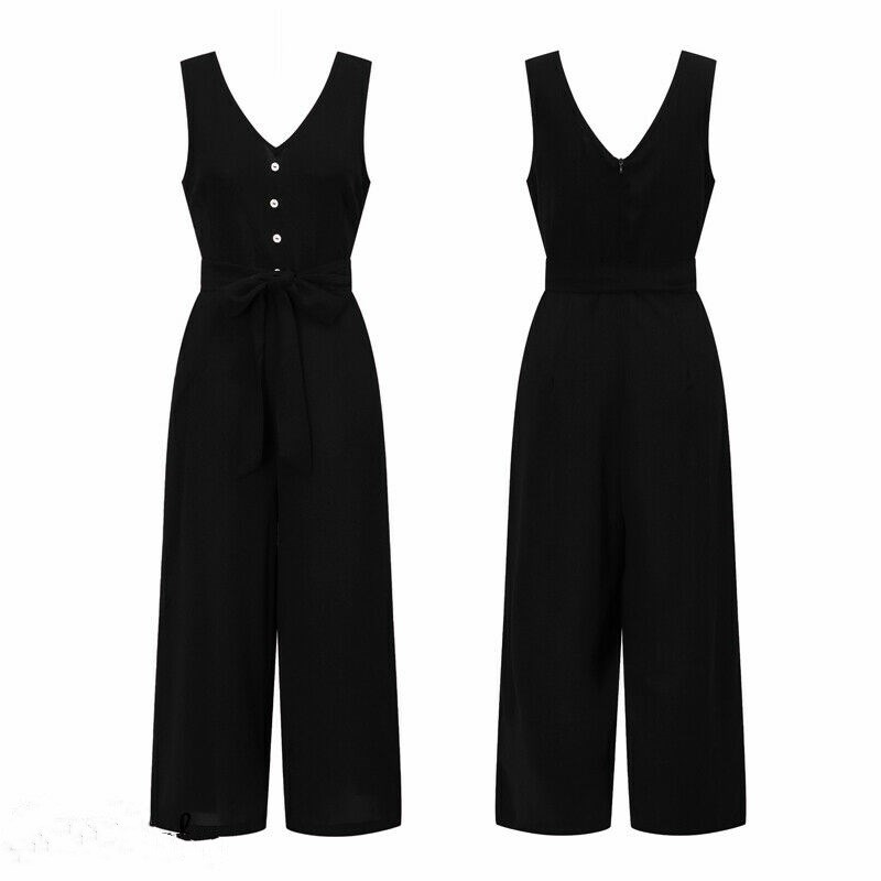 2020 New Style Solid Button Sleeveless Sashes Women's Casual Loose Linen Baggy Jumpsuit Dungarees Trousers Overalls