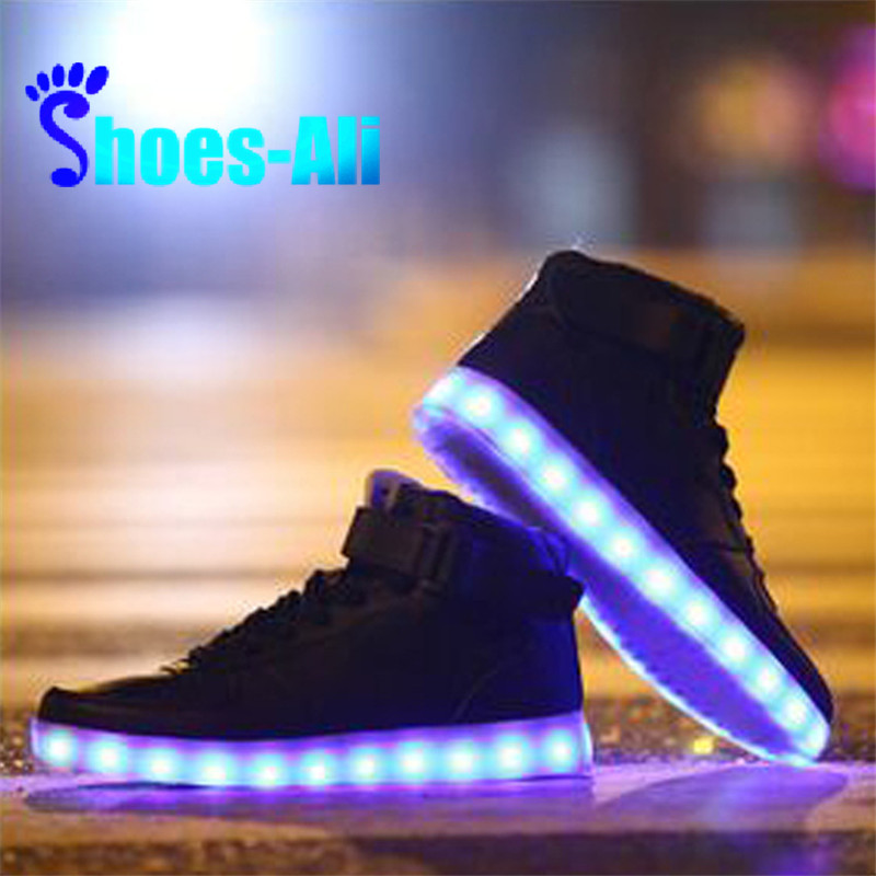 Plus Size Microfiber Leather Luminous LED Shoes For Adults LED Shoes  Chaussure Baskets Led Homme Light up Unisex Shoes-in Men s Casual Shoes  from Shoes on ... 59a41a18d5d8
