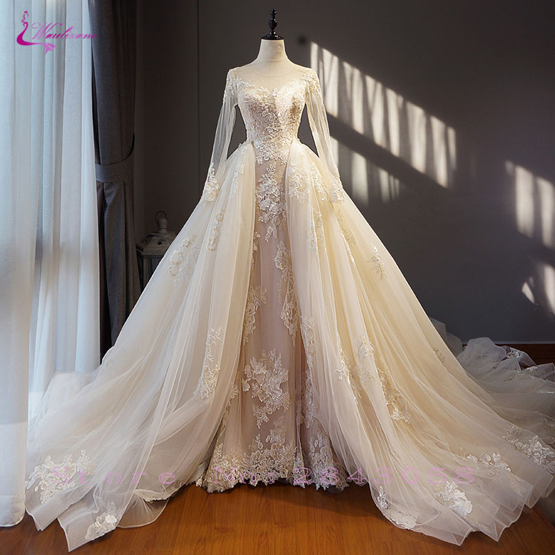 Waulizane Chic Organza Bridal Gowns Exquisite Embroidery Appliques O Neck 2 In 1 Detachable Train Wedding