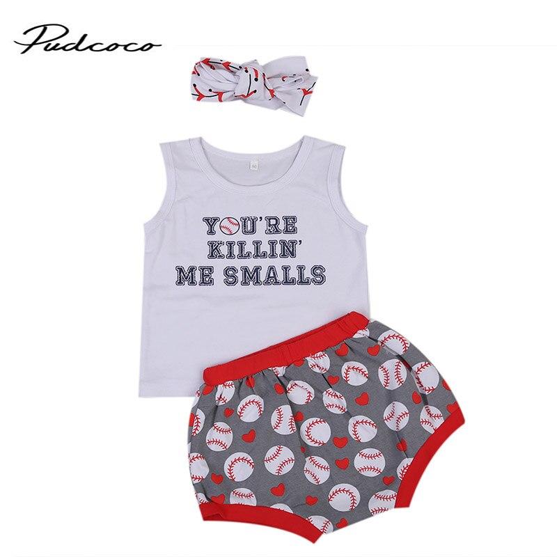 2017 Одежда для маленьких девочек и мальчиков комплект с принтом букв жилет + Шорты для женщин промах + повязка 3 шт. Bebes летняя одежда комплект ...