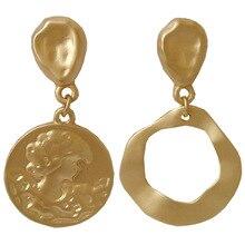 Individual creativity asymmetrical geometric zinc alloy round golden drop earring women jewerly