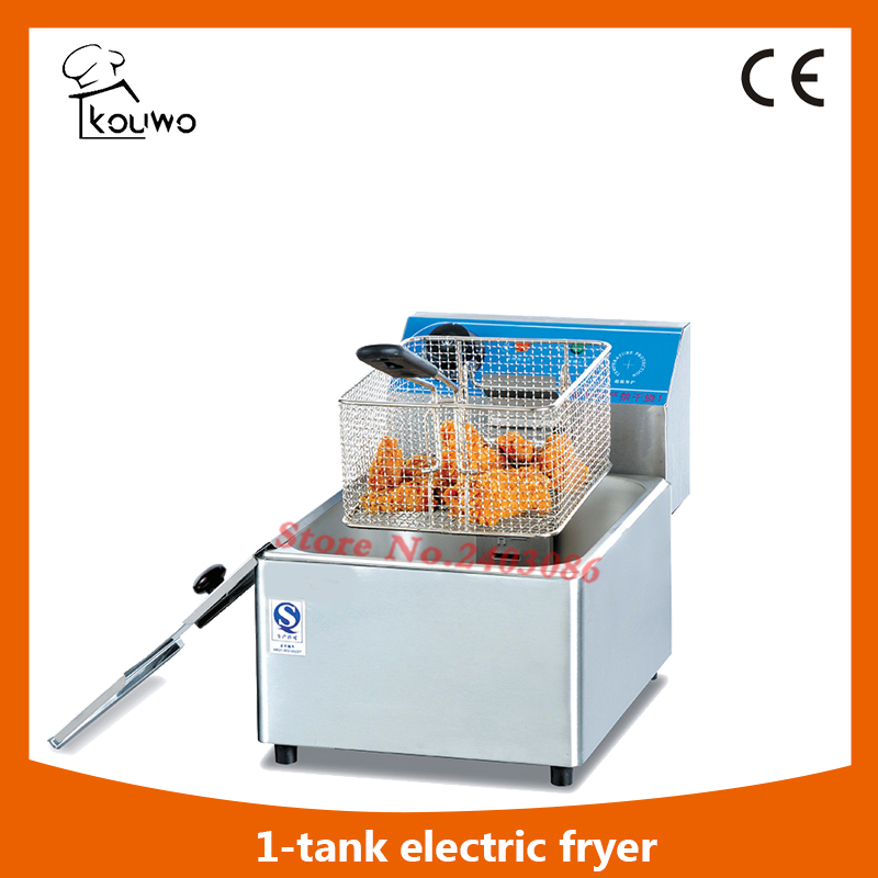Counter top rectangular 1 tank 1 basket electric deep fryer and CE approval fryer machine  ( (KW-F6L) ef171s commercial counter top chips potatohamburger egg fryer with basket