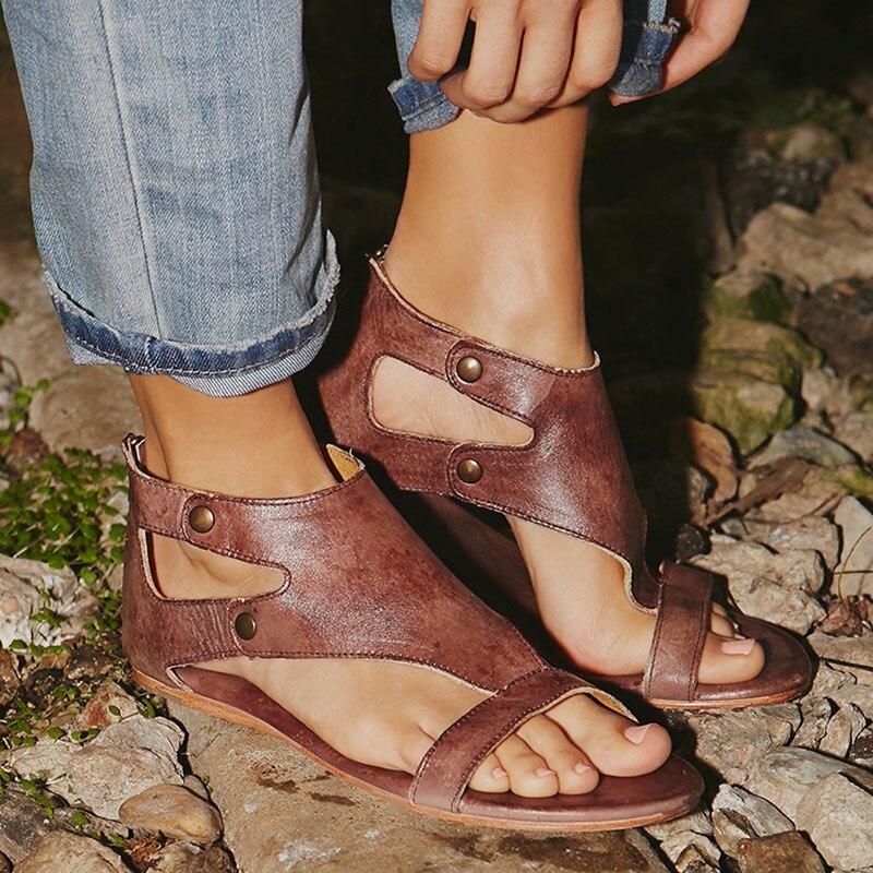 נשים סנדלי רך עור גלדיאטור סנדלי נשים מקרית קיץ נעלי נשי שטוח סנדלי Zip בתוספת גודל 35-43 חוף נעלי נשים