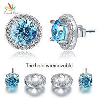 Pfau Stern 2,5 Karat Runde Aqua Blau Halo (Abnehmbar) Stud Feste 925 Sterling Silber Ohrringe Schmuck CFE8128