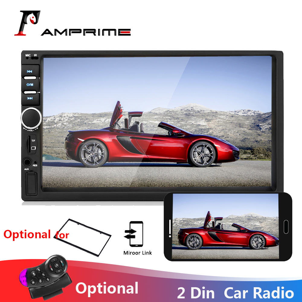 AMPrime Autoradio 2 din General Car Models 7'' LCD Touch Bluetooth 2din Car Radio Player Car Audio Aux FM With Rear View Camera image