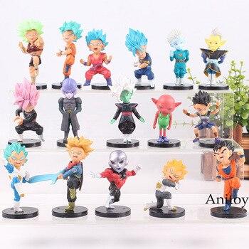 Dragon Ball süper Action Figure 16 adet/takım Son Goku sandıklar Vegeta Jiren Kale Grand Priest Zamasu Monaka Hit Cabba PVC şekil oyuncaklar
