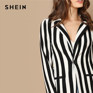Image 4 - SHEIN Black And White Notch Collar Striped Textured Blazer Women Spring High Street Long Sleeve Single Button Casual Outer