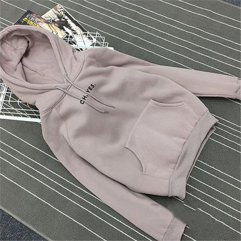Autumn Winter Fleece Oh Yes Letter Harajuku Print Pullover Thick Loose Women Hoodies Sweatshirt Female Casual Coat(China)