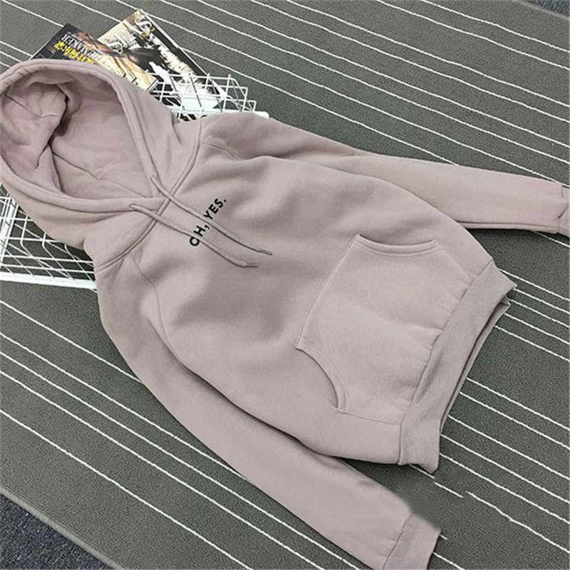 Herbst Winter Fleece Oh Ja Brief Harajuku Druck Pullover Dicke Lose Frauen Hoodies Sweatshirt Weibliche Casual Mantel