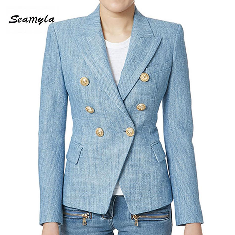 Newest-2017-Designer-Blazer-Women-s-Long-Sleeve-Double-Breasted-Metal-Lion-Buttons-Blazer