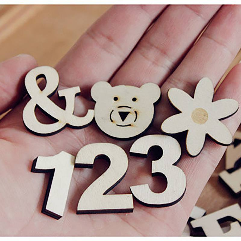 Self-Adhesive Numbers Craft English Letter Patterns Ornaments Wooden Home Christmas Decor Accessories