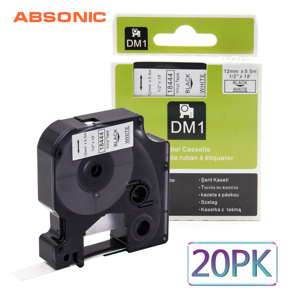 Absonic 20 pièces 12mm DYMO Rhino 18444 Noir sur Blanc IND Vinyle Ruban Adhésif Industriel Cartouche Pour Rhino 1000 3000 4200 Étiqueteuse
