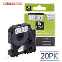 Absonic 20PCS 12mm DYMO Rhino 18444 Black on White IND Vinyl Label Tape Industrial Cartridge For Rhino 1000 3000 4200 LabelMaker