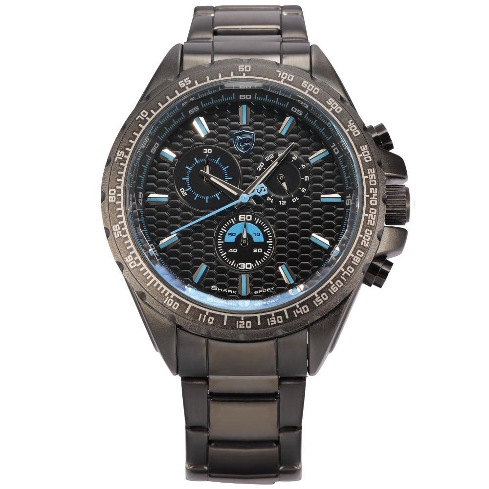 ФОТО Shark Sport Watch New Luxury Brand Full Steel 24 Hours Display Chronograph Relogio Military Blue Quartz Men Wristwatches / SH189