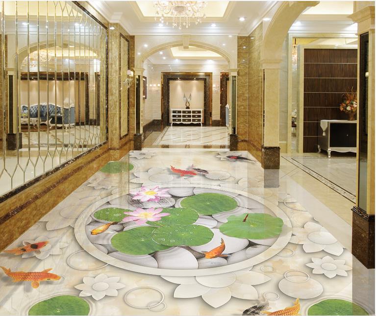 3d flooring floor vinyl flower living custom tiles wallpapers embossed pebbles pebble mural self murals zoom improvement adhesive pvc lotus