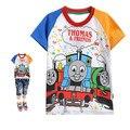 New Summer Style Kids Tops Boys Dinosaur Rainbow Boy Short Sleeve T-Shirt Pattern Train Cotton 100% Boys Clothes T Shirt Thomas