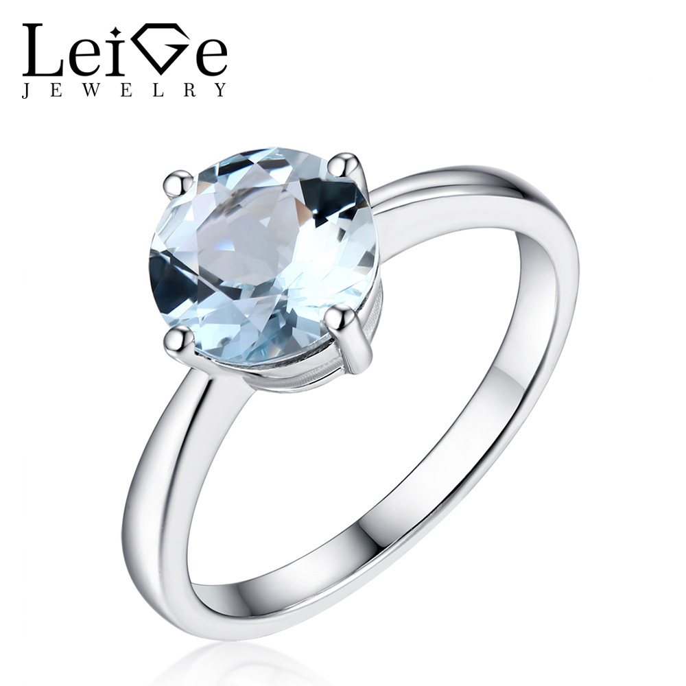 Leige Jewelry Round Cut Natural Aquamarine Ring Solitaire Gemstone Silver 925 for Women Wedding Anniversary Rings Christmas Gift