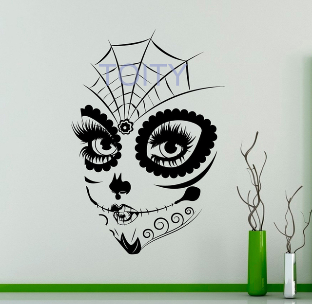 Sugar Skull Girl Face Wall Vinyl Decal Sticker Make Up Home Art