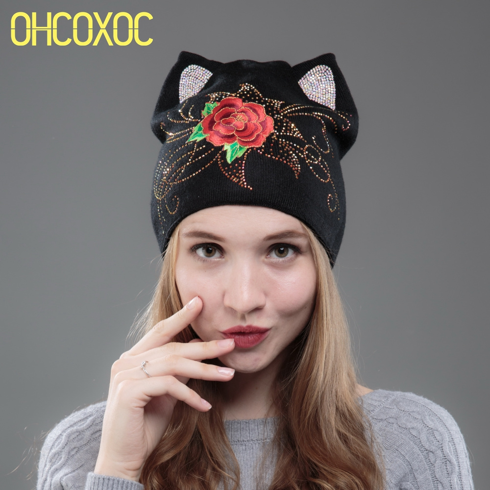 Image OHCOXOC New Design Women Beanies Skullies Cute Red Rose Girl Autumn Winter Hat Cap With Cat Ear Rhinestone Embroidery Flower