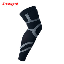 Kuangmi 1 PC Sports Compression Leg Sleeve Basketball Cycling Football Long Calf Knee Brace Legwarmers Men Women Warmer