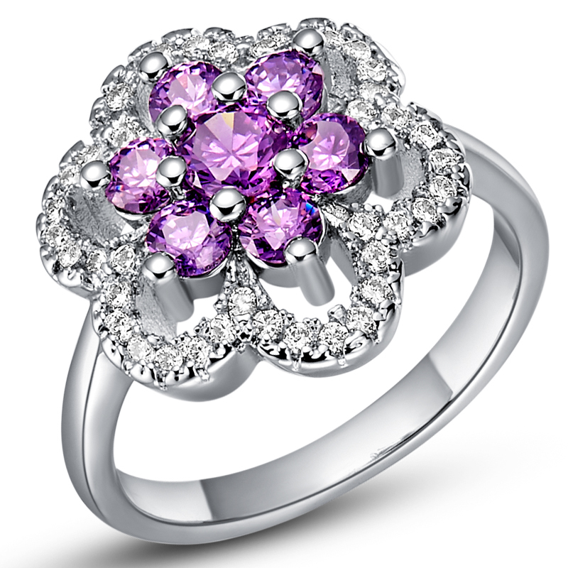 925 sterling silver simulated diamond flower jewelry fashion wedding rings purple white cubic zirconia ring 2016 ulove j491 in rings from jewelry - Purple Wedding Rings