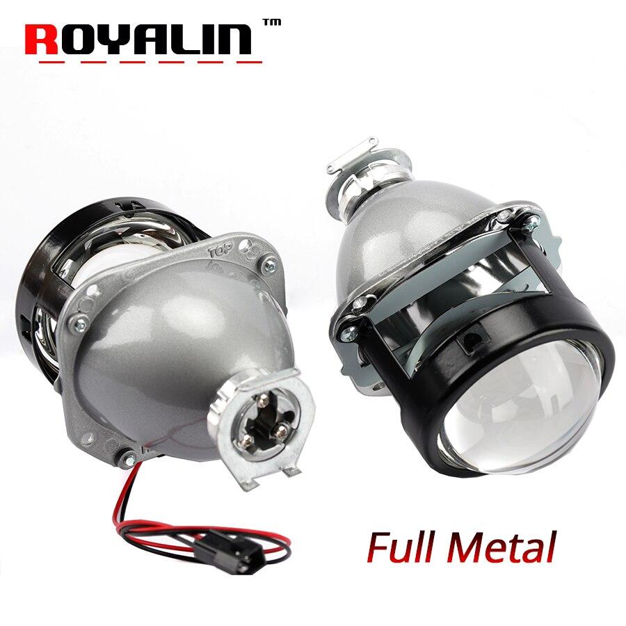 ROYALIN стайлинга автомобилей галогенные Объектив металлический H1 Мини HID би ксенон объектив проектора 2,5 H4 H7 авто мини пушки Гатлинга маски
