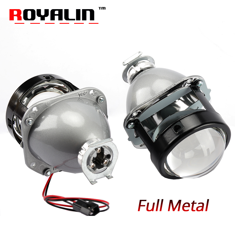ROYALIN Car Styling Halogen Lens Full Metal H1 Mini HID Bi Xenon Headlight Projector Lens 2.5 H4 H7 Auto Mini Gatling Gun Masks retrofit headlights cover 2 5for h1 mini projector lens silver gatling gun shroud [qp379]