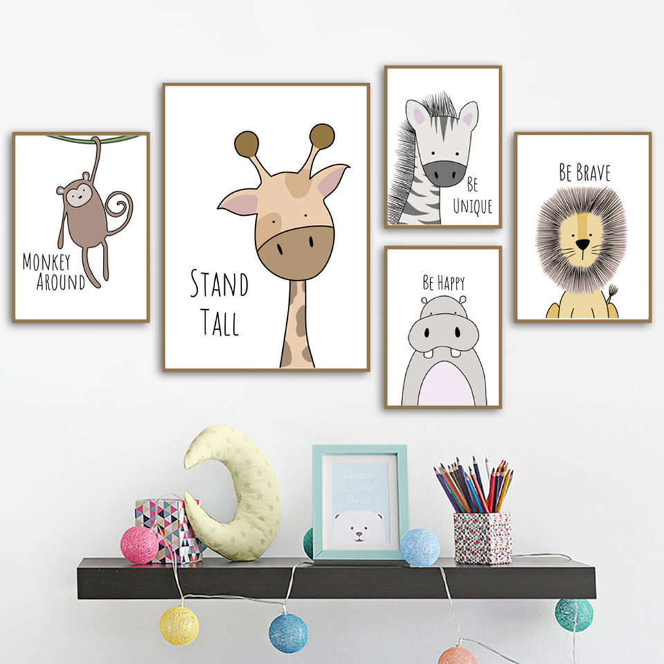 HTB1mu9wJ9zqK1RjSZFHq6z3CpXaE Nordic Style Painting Cartoon Animal Prints Canvas Home Decoration Wall Art Modular Pictures Watercolor Poster For Kids Room