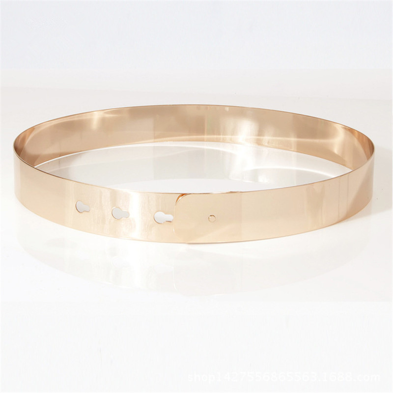 Image 5 - Women Punk Full Metal Mirror skinny Waist Belt 2019 Metallic Gold Plate 3cm Wide Chains Lady ceinture sashes for dresses BL02 2-in Women's Belts from Apparel Accessories