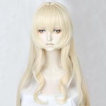 Goblin Slayer Onna Shinkan Priestess 100cm Long Milk Blonde Heat Resistant Hair Cosplay Costume Wig + Free Wig Cap цена 2017