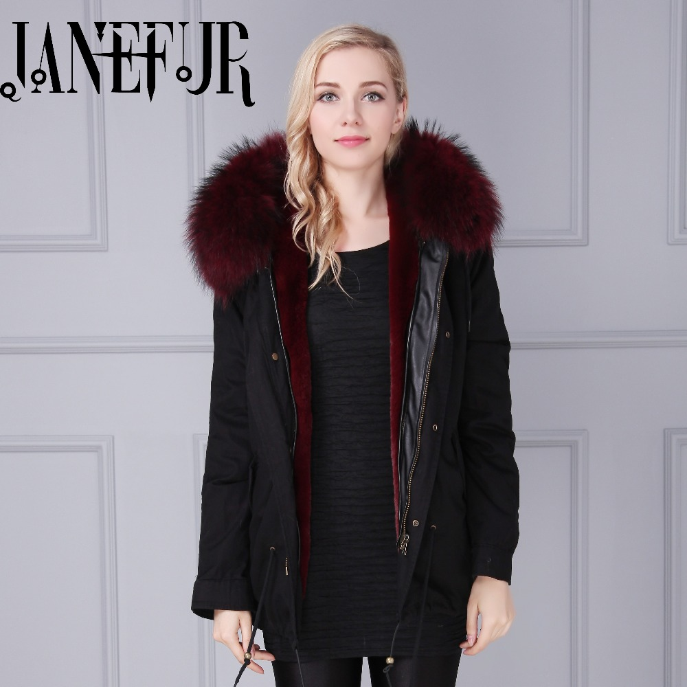 Aliexpress.com : Buy Black Shell Parka Real Fur Collar Winter ...