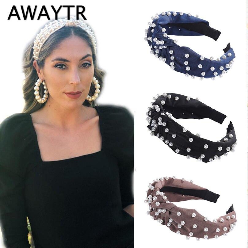 AWAYTR Korean Pearl Headband for Women Bezel Simple Knotted Hair Loop Women Hairband Fashion   Headwear   Girls Hair Accessories