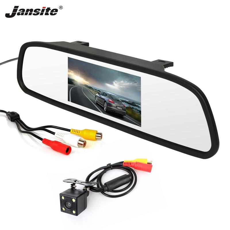 Jansite 4.3 cali samochód monitora TFT LCD Monitor z widokiem z tyłu samochodu kamera cofania z trybem parkingowym System do widzenia w nocy LED Backup tyłu kamery