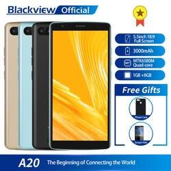 Blackview A20 смартфон 1 ГБ Оперативная память 8 ГБ Встроенная память MTK6580M 4 ядра Android GO 5,5 дюйма 18:9 Экран 3g двойной Камера мобильный телефон