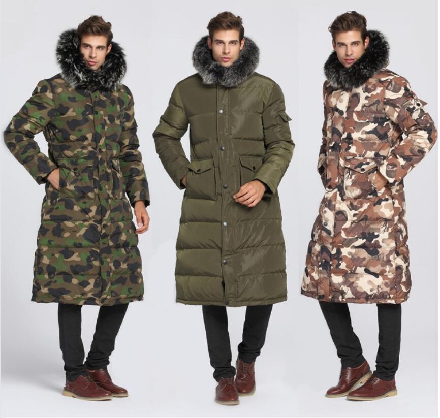 90% biały puch kaczy mężczyźni długi dół kurtki 40 stopni ciepły płaszcz kołnierz z prawdziwego futra grube męskie zimowe płaszcze w Kurtki puchowe od Odzież męska na  Grupa 1