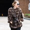 De Moda de lujo Real de Piel de Visón Abrigos mujeres Invierno Otoño Full cinturón de piel de Piel Caliente Gruesa Chaqueta de Color Natural Femenina Mex outwear