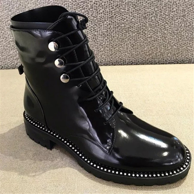 купить 2017 Brand Designer Lace Up Martin Boots Genuine Leather Riding Booties Women Fashion Rivet Shoes Europe Ankle Boots Luxury