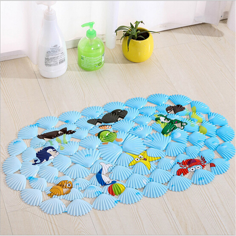 Cute Animal Sea Shells Shaped <font><b>Oval</b></font> Bath <font><b>Mat</b></font> For <font><b>Tub</b></font> Non-Slip Suction Cup Massage <font><b>Mats</b></font> For Toilet And Kitchen